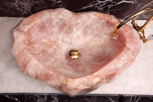 Rose Quart Geode Sink Decor