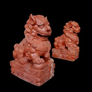 Red Fudogs Marble Statute