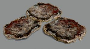 AGATE COASTERS WITH GOLD TRIM