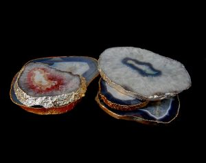 Agate Slabs With Gold And Silver Trim